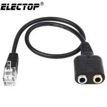 Electop nowy 1PC 25cm podwójny 3.5mm gniazdo Audio kobiecy męski RJ9 przejściówka Adapter konwerter kabel komputer stancjonarny zestaw słuchawkowy telefon za pomocą