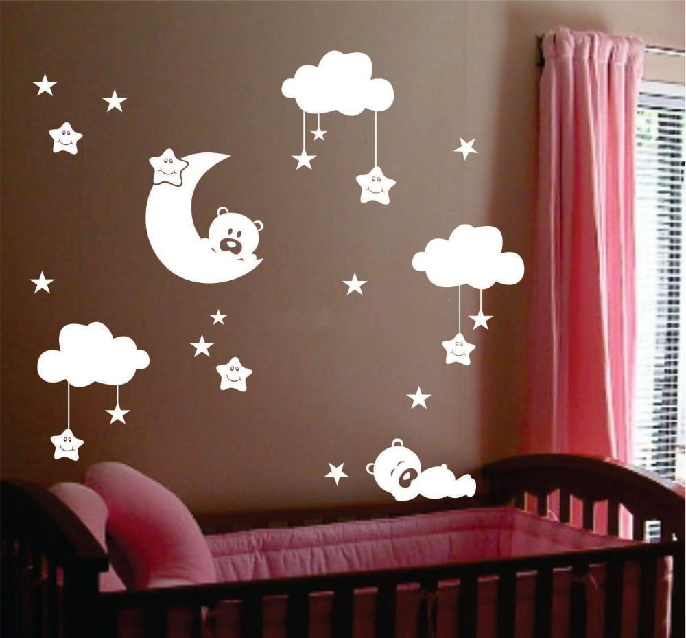 baby rooms nursery promotion shop for promotional baby rooms cute large size baby nursery room moon and star vinyl wall stickers cute smiling stars with white clouds baby room decor