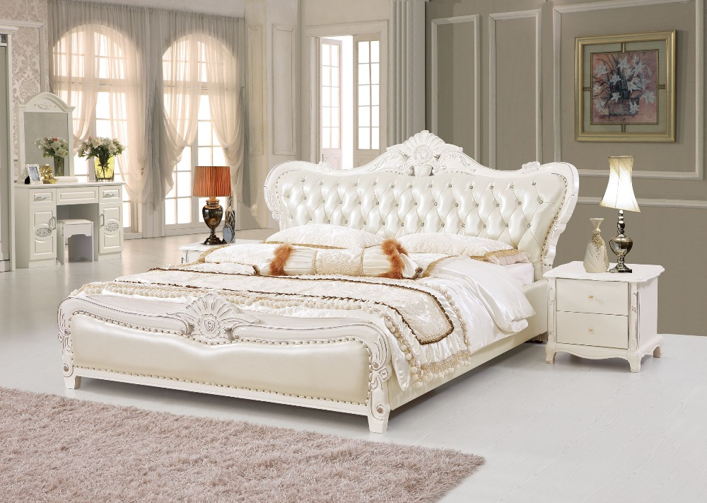 The modern designer leather soft bed large double for Double bed new design