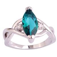 lingmei Wholesale Fashion Jewelry Green Topaz & White Topaz 925 Silver Ring Size 6 7 8 9 10 11 Beauty For Women Free Shipping