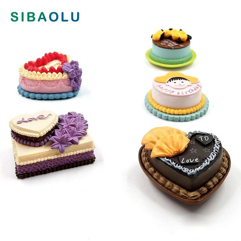 Birthday Cake Miniature Figurine Simulation Food Model DIY House Accessories Doll home Decoration plastic