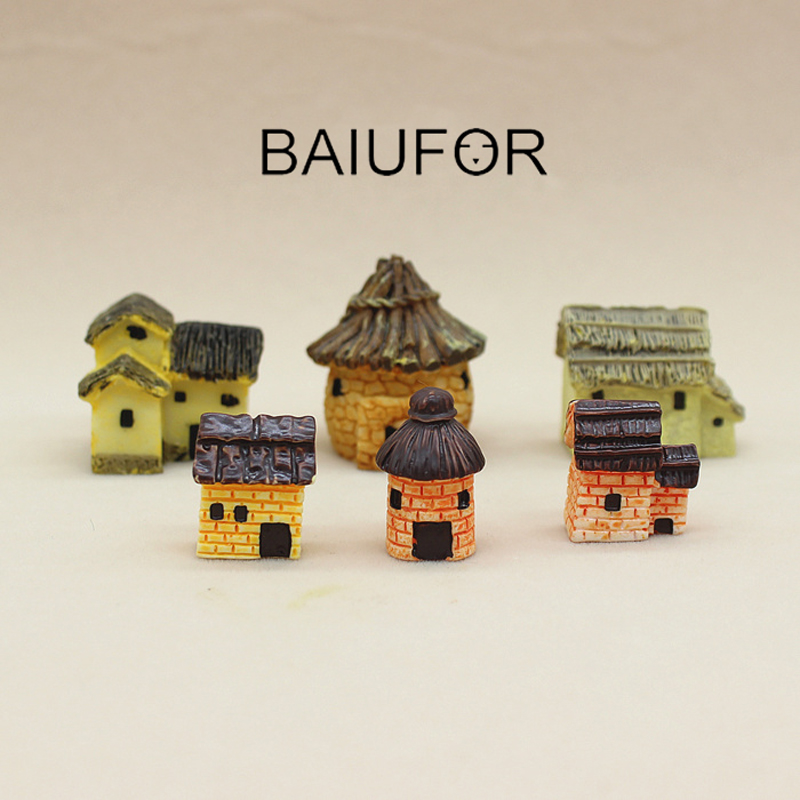 BAIUFOR Architecture Miniature Mini House Cottages Model Fairy Garden Decor Terrarium Figurines Succulents Ornament Resin Craft
