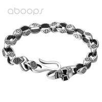 Gothic 925 Sterling Silver Skull Link Chain Bracelet for Men Boys 7mm 20 cm Free Shipping