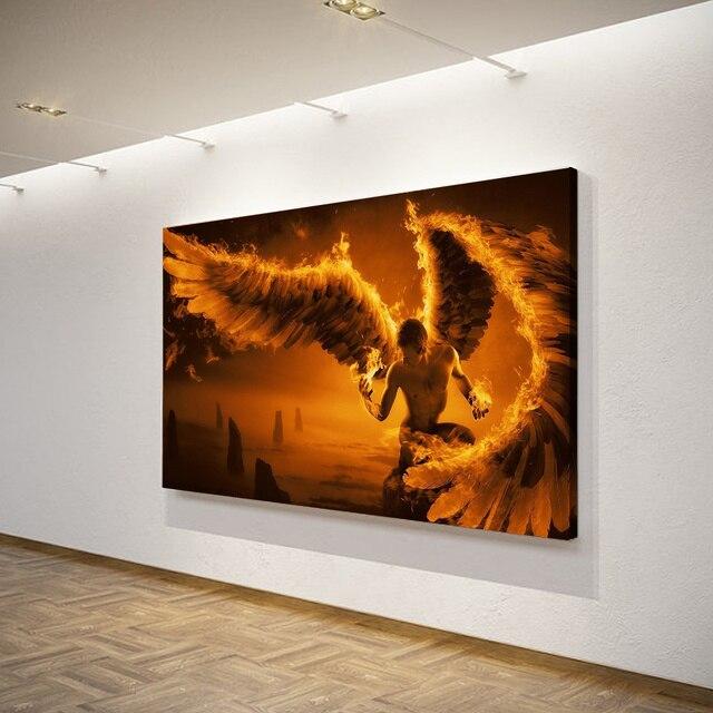 1 unids/set enmarcado HD impreso Dark Angel Fantasy Wings Wall Art ...