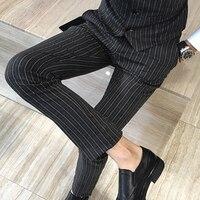 Uomini di qualità pantaloni britannico slim fit stripe pantaloni del vestito più size abito da sposa partito mens pantaloni abiti da cerimonia uomo profumo masculino