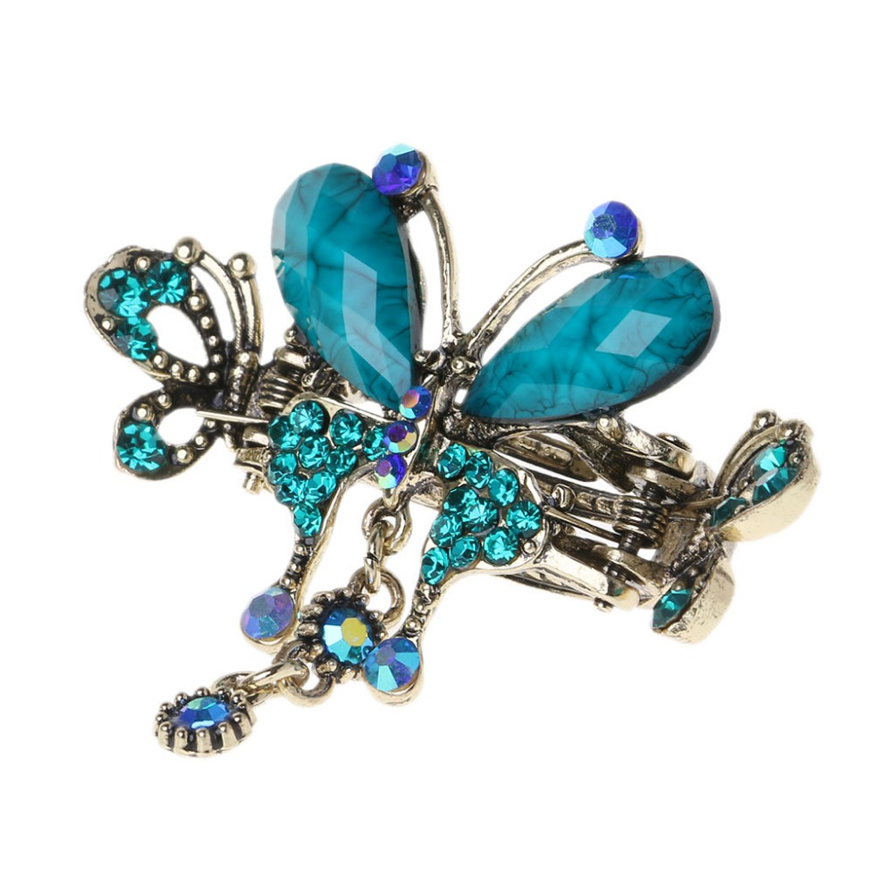 Women Vintage Hair Claws Turquoise Blue Butterfly Pins