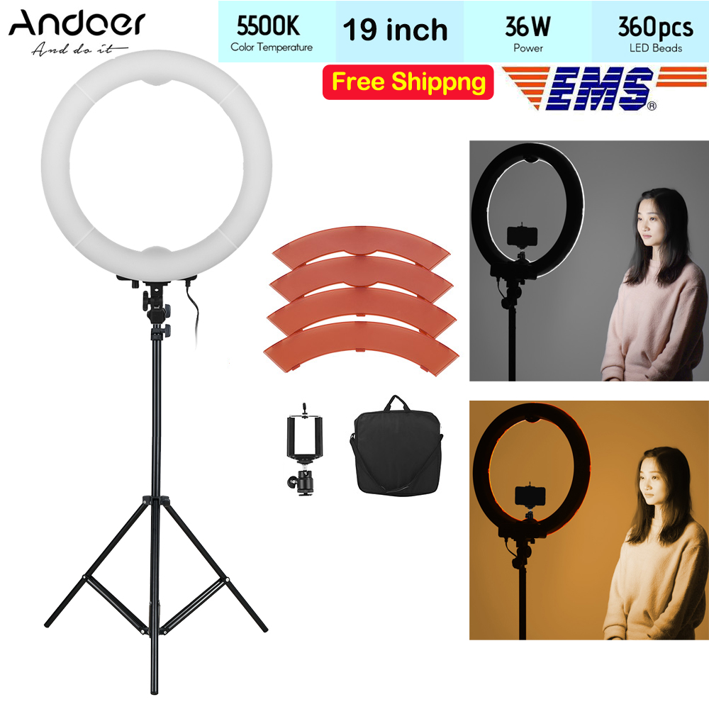 Andoer 19in 36W LED Lamp Ring selfie Video Light photo Photography Studio Fill in Light LED Beads 5500K Adjustable Brightness-in Photographic Lighting from Consumer Electronics    1