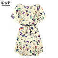 Boho Dress New Arrival Casual Summer Style Womens Chiffon Dresses Crew Neck Beige Batwing Short Sleeve Birds Print Shift Dress