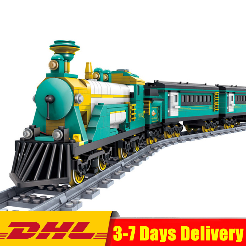 KAZI 98102 851 Pcs Battery Powered Electric Puffingbilly Car Steam Train Building Blocks Bricks Model Toys