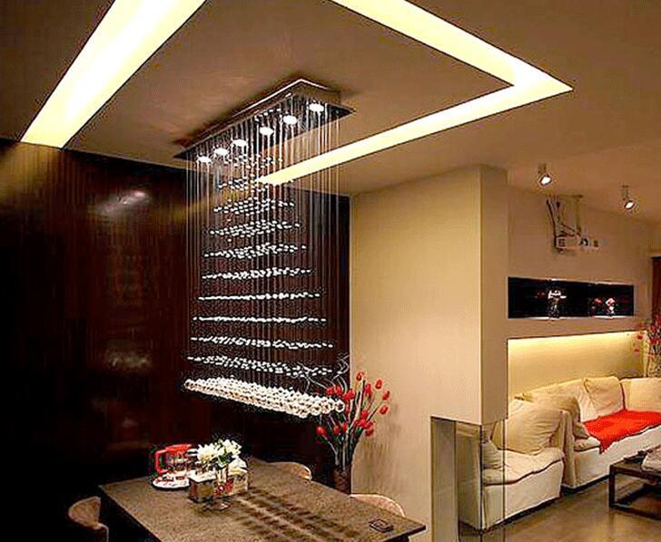 100cm Modern restaurant crystal lamp living room rectangular crystal pendant crystal light living room lights curtain lamp