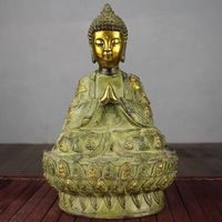 Antique sculptures bronzes Buddhist crafts Shakya Mani Buddha sculptures Buddha Buddha big dress high 28cm