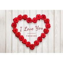 Laeacco деревянная доска с изображением сердечка и Розы День святого Валентина фотографии задний план индивидуальные фотографический фон для фотостудии