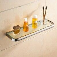 Leyden Brass Tempered Glass Bathroom Shelf,Wall Mounted Thick Shower Storage Brushed Nickel No Sharp Edge