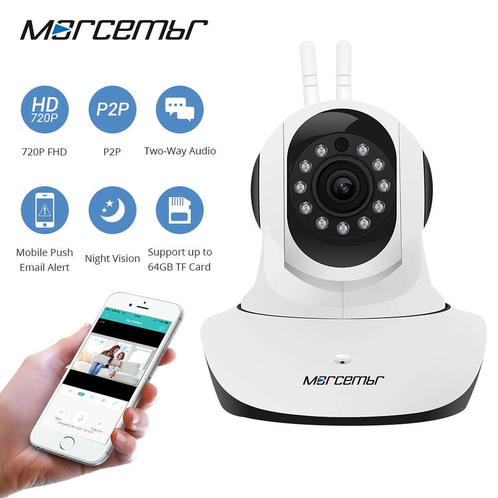Morcembr Night Vision CCTV Indoor Camera 720P HD Wireless Wifi IP Home Security Surveillance Camera Motion Detection IP Camera oiyea ptz double antenna hd 720p infrared night vision motion detection wifi home security ip surveillance camera