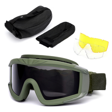 Outdoor Military Goggles UV400 Protective Dustproof Cycling Training CS Gaming Eyewear 2 Interchangeable Lens