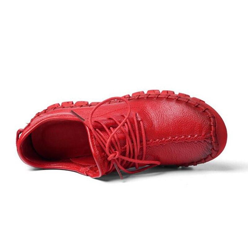 Mocassins Dames Sneakers Beyarne Casual blanc Plat Noir Femmes E206 Chaussures Zapatos Main rouge Véritable En Pour Cuir Mujer Nouvelle Laçage YxYHPqO