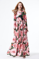 Xxxxl!新しいファッションブランド女性のdressロングマキシレディースカラフルな花柄ロングスリーブマキシパーティー結婚式レディースビーチドレ