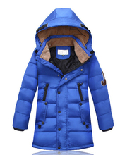 NEW 2015 Autumn&Winter Children Down Parkas Kids boy Outerwear Thicken Boys White Duck Down Jacket And Long Down Jacket