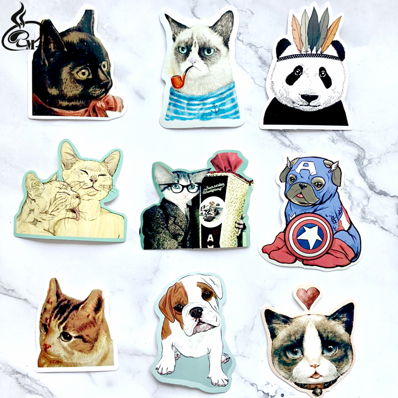 9 pcs pets Sticker lovely Funny for Kid DIY Laptop Suitcase Skateboard Moto phone Car Toy waterproof Stickers