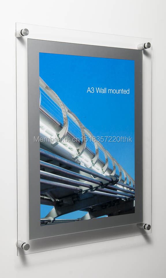 a3 double panel wall mounted floating acrylic picture frame for a3 art and photos ypd