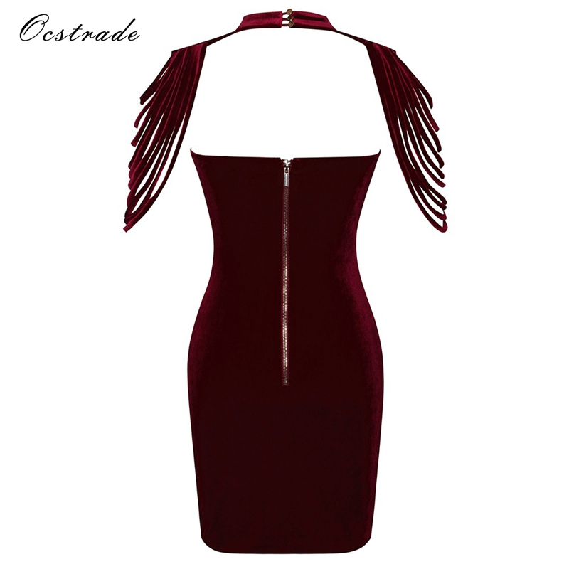 e9be6b1e4666 Ocstrade Velvet Dress 2018 New Arrival Wine Red Removable Collar Stretch Velvet  Strapless Bodycon Dresses for Women-in Dresses from Women s Clothing on ...