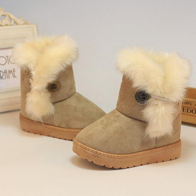 Gruesa caliente zapatos de Bebé para Las Muchachas 2016 de Invierno Niños nieve botas de Los Niños y niños de Gamuza de algodón botas Niño plana con zapato