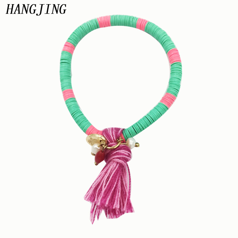 hangjing1pcs 2019 new green red bohemian Style tassel crystal glass Beaded child kid baby Bracelet Friendship Gift Charm jewelry