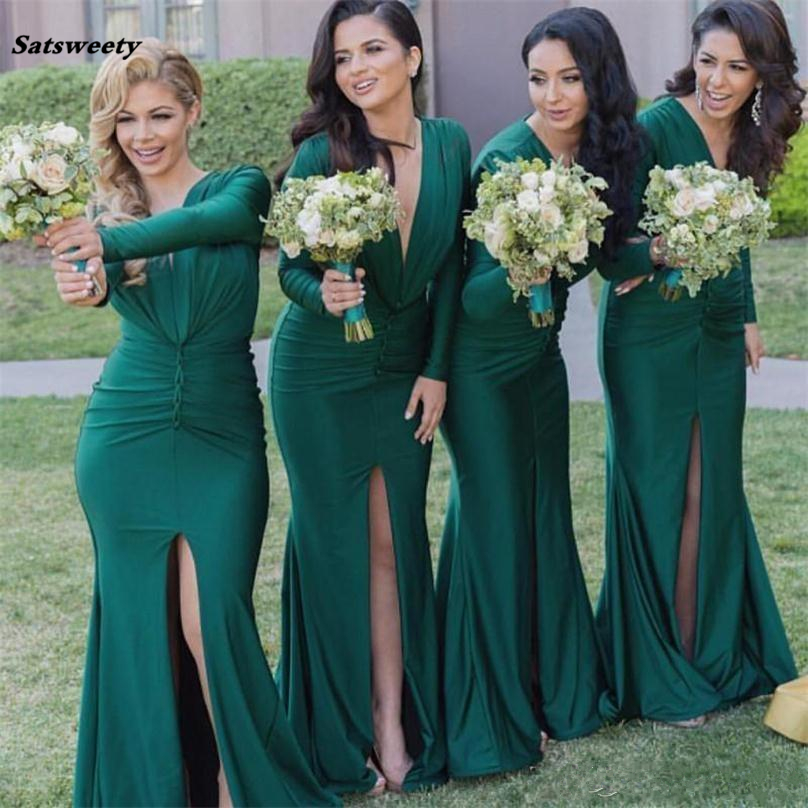 Hunter Green Deep V Neck Mermaid   Bridesmaid     Dresses   2019 Long Sleeves Maid of Honor Gowns Split Prom Gowns Custom Made Cheap