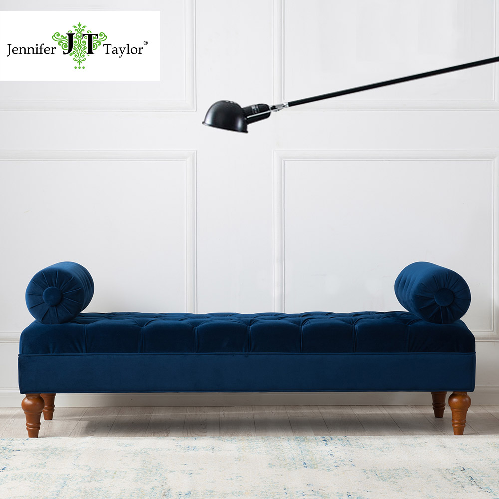 Jennifer Taylor, Estate Blue Bolster Bench,60W x 20 1/2D x 22H