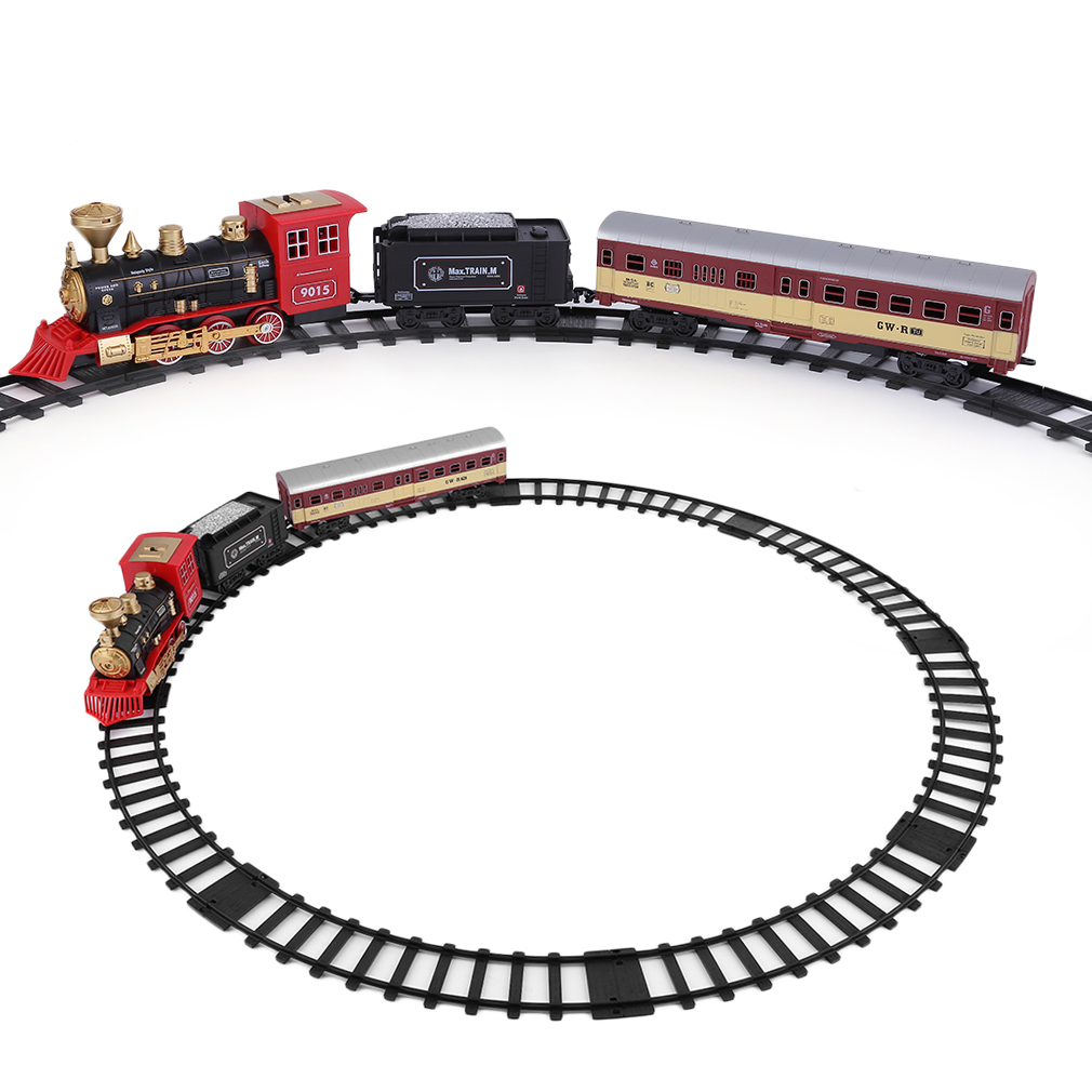 Children Electric Classic Train Set With Music And Lights Railway Vehicles Car scale model trains Educational Toys Free Shipping ...
