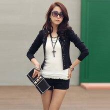 Free Shipping Comfortable leisure slim Wild suit outerwear coats women rivets Coat jacket lady blazers black white #P0132