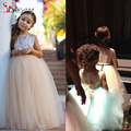 Beige Arabic Lace 2016 Flower Girl Dresses Tulle Sheer Neck Child Pageant Dresses Holy Communion Flower Girl Dresses