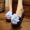 Wedge Flip Flops 2017 New women Fashion Sandals Summer Flower Slippers Beach Flip Flops Platform  Flower China Slides flipflops