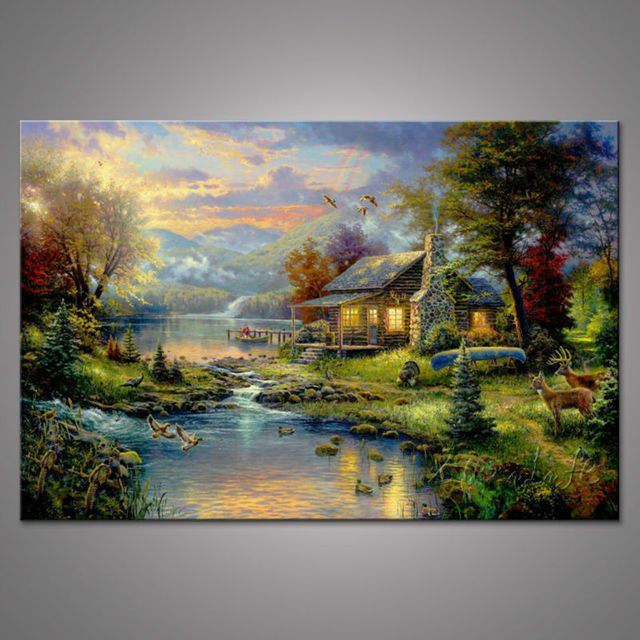 thomas kinkade oil paintings the cottage christmas art posters and prints giclee art on canvas wall