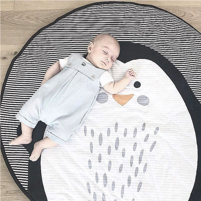 Baby Gyms & Playmats Childrens Cute Cartoon Cotton Crawling Mat Game Mat Round Carpet Childrens Room Decorations Baby Development Activity Cusion Mother & Kids