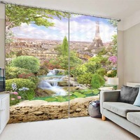 The Eiffel Tower in Paris 3D Curtains For Bedroom Kids Living Room Drapes Fabric Polyester Set with Hooks Factory direct sale