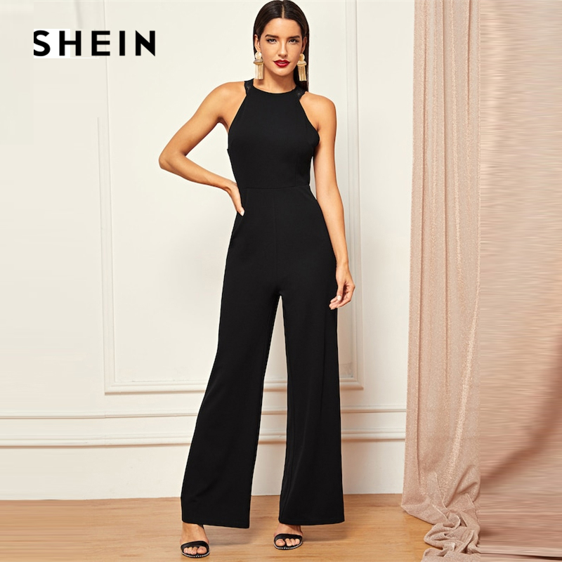 SHEIN Black Contrast Lace Trim Wide Plain Leg   Jumpsuit   2019 Women Spring Casual Round Neck Sleeveless Going Out   Jumpsuit
