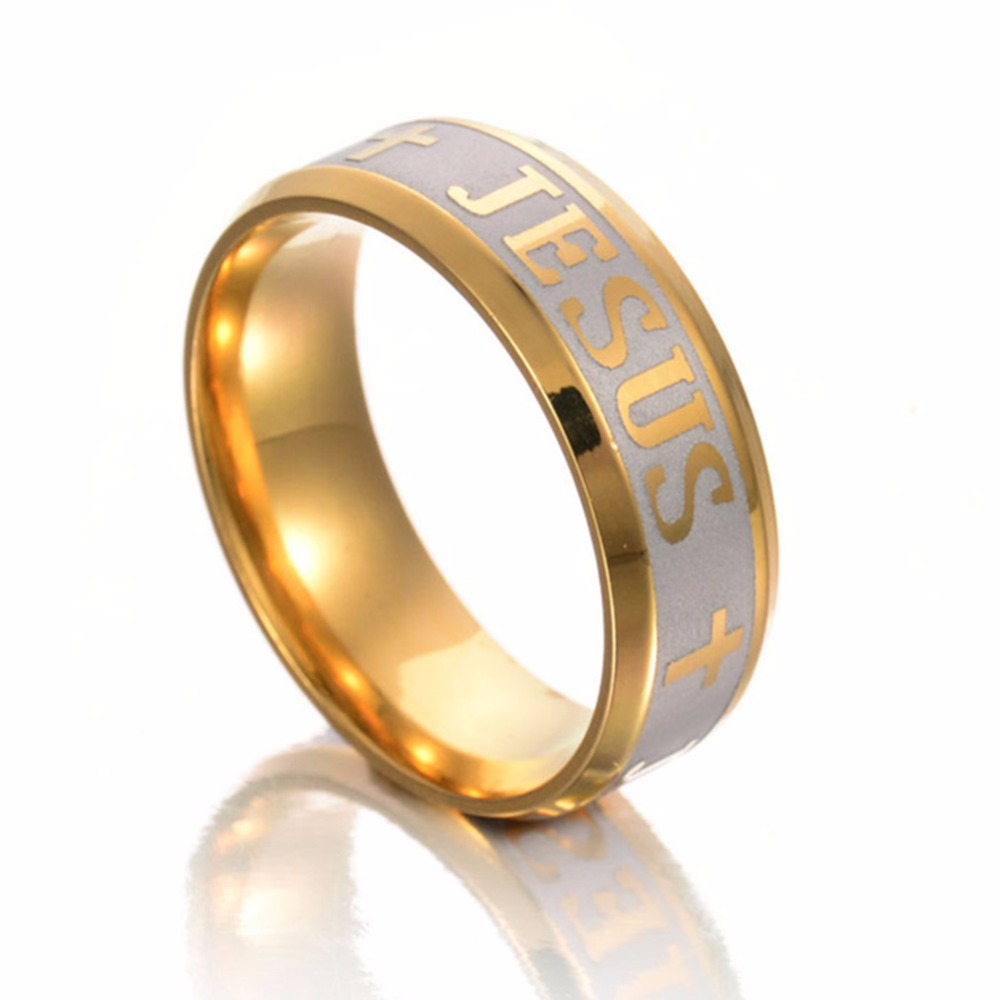 High quality large size 6mm ring titanium steel gold color for Gold ring models with letters
