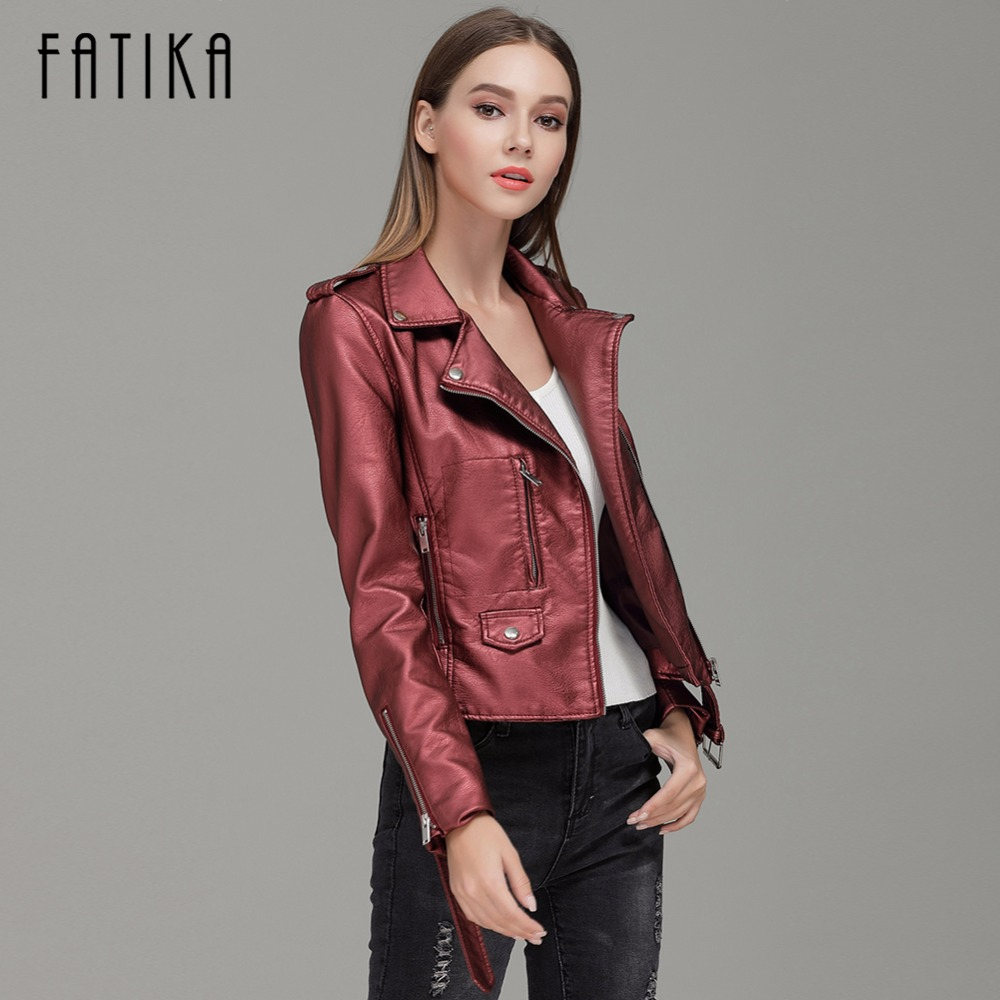 FATIKA 2017 Autumn Winter Fashion Women Faux <font><b>Leather</b></font> Jackets and Coats Pockets Zipper Belted Motorcycle Jacket Outwear For Woman