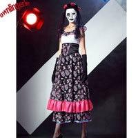 Free Shipping The Dead Skeleton Costume Dia De Los Muertos Horror Lace Sexy Fancy Dress Zombie