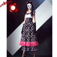 Free shipping The Dead Skeleton Costume Dia de Los Muertos Horror Lace Sexy Fancy Dress Zombie Ghost Bride Costumes