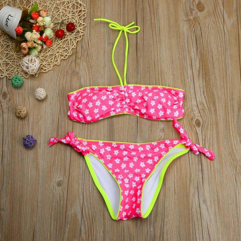 Bikini 2018 Toddler Baby Kids Girls Solid Swimwear Flower Bathing Suit Bikini Set Cloth Swimsuit 2018 Bikini 15