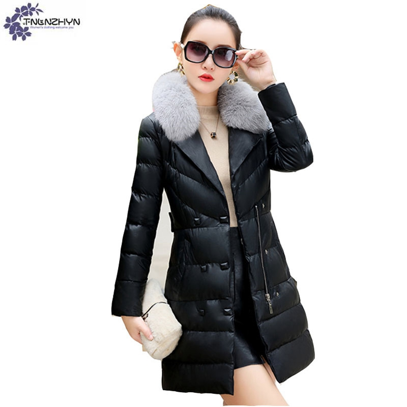 TNLNZHYN Women clothing warm Cotton coat winter new fashion Fur collar High end large size casual female Cotton Outerwear QQ609