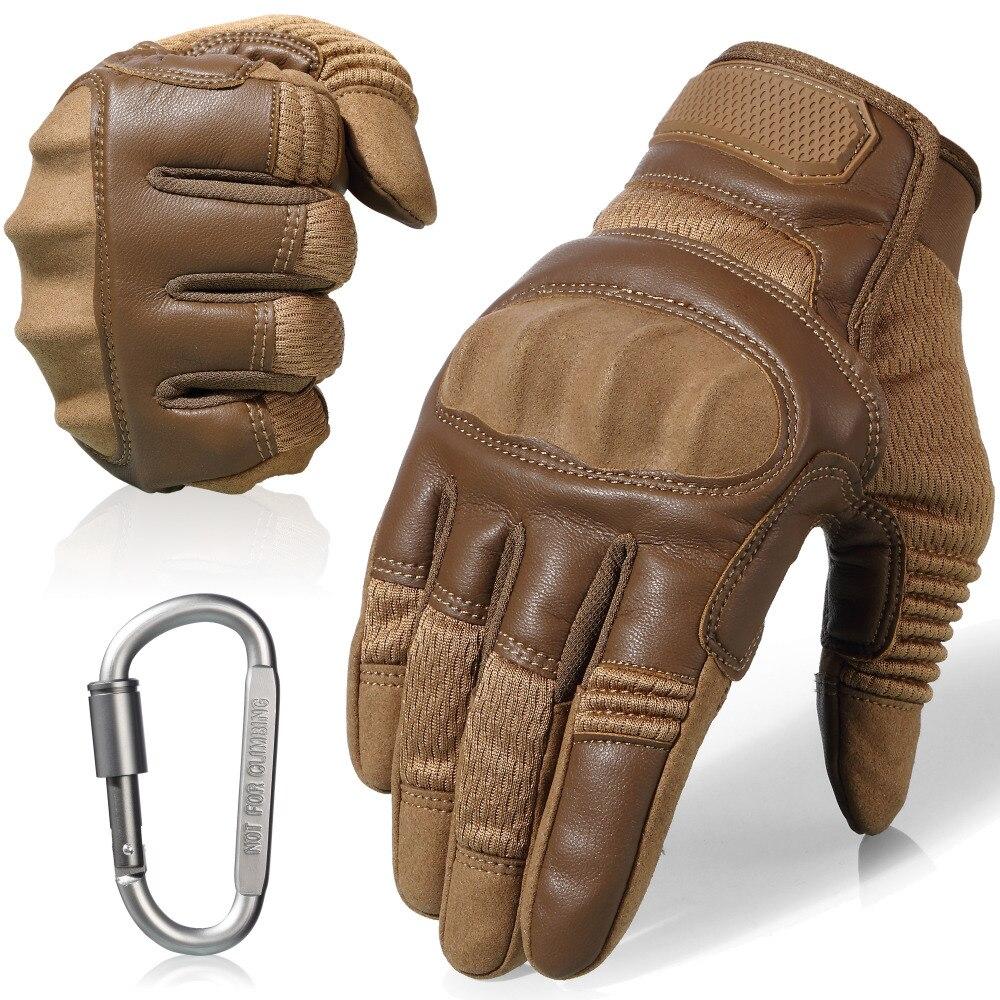 Pantalla táctil de la motocicleta de cuero antideslizante duro nudillos guantes dedo completo equipo de protección para deportes al aire libre de carreras Motocross ATV