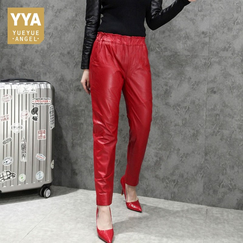 2019 Winter Fashion Sheepskin Pants Women Red Bright Leather Pants Womens Elastic Waist Slim Female Trousers