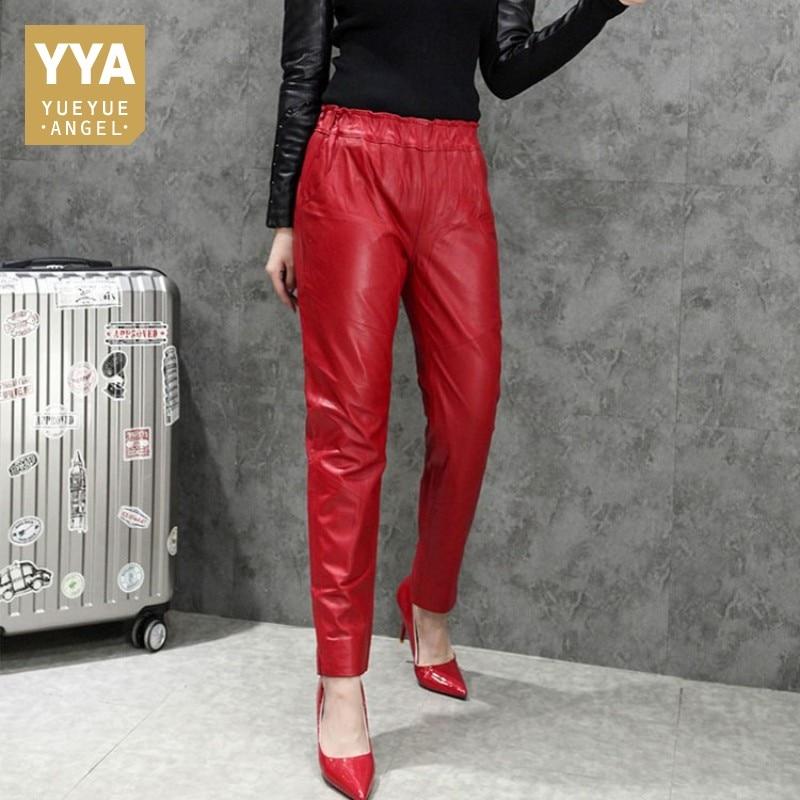 2019 冬のファッションシープスキンパンツ女性赤高輝度レザーパンツ女性弾性ウエストスリム女性のズボンプラスサイズパンツ XXXL  グループ上の レディース衣服 からの パンツ & カプリパンツ の中 1