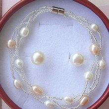Wholesale Fashion Real Freshwater Pearl Jewelry Set, Bridal