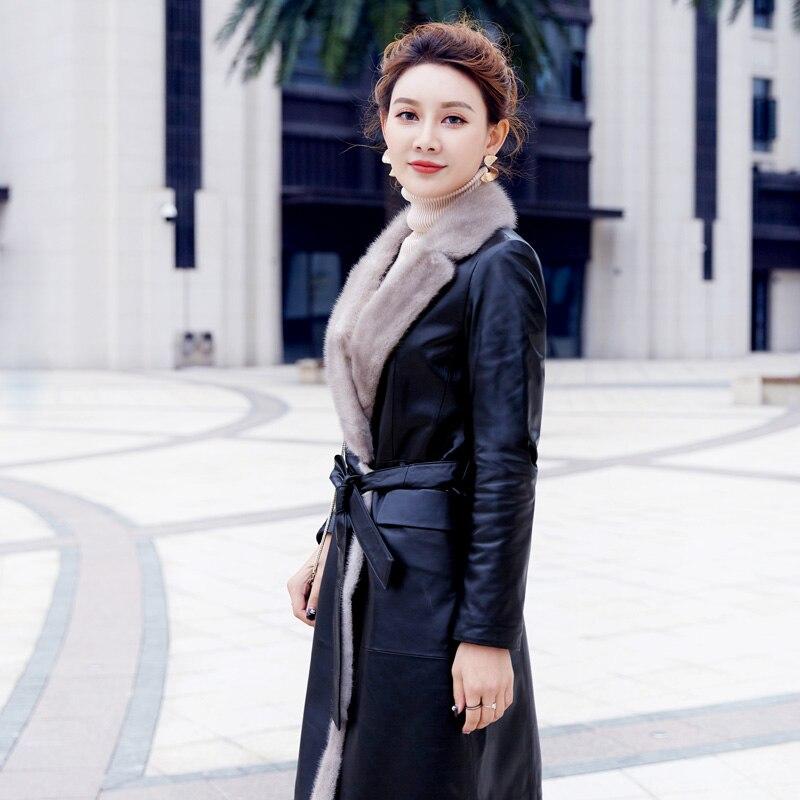 brown Nouveau Veste Manteau Hp361 Femme Le Véritable Peau Mouton Manteaux Black En Femmes De 2019 Long Bas Tempérament Cuir Chaud Mince Vers Coton qPqFRHAB