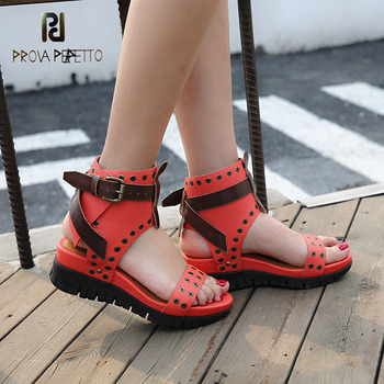 Prova Perfetto summer new thick bottom open toe gladiator sandals mixed color flat platform wedge rivet real leather women shoes