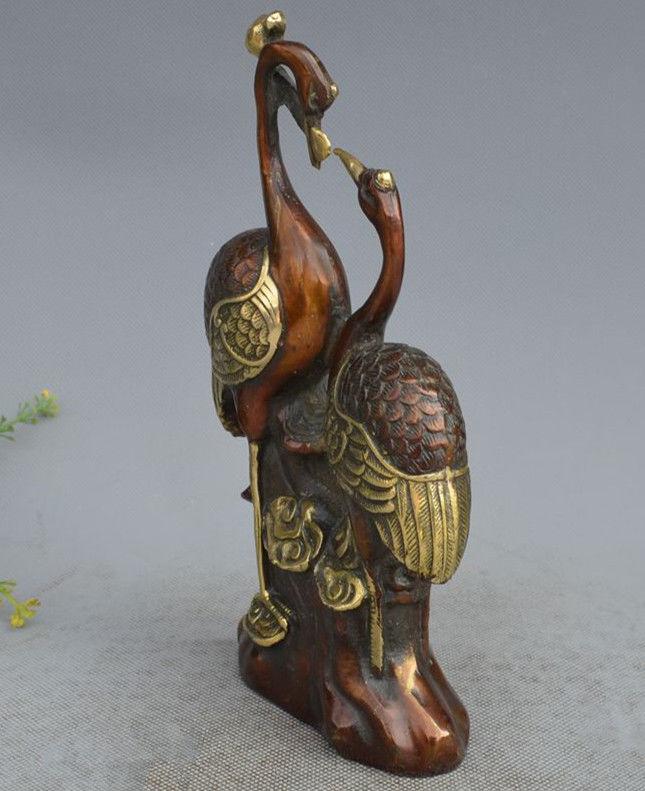 Китайский медный блеск ручной резной кран и статуя Ruyi - 5